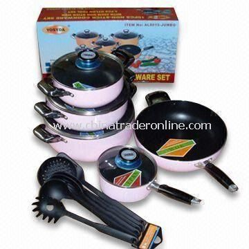 15-piece Non-stick Aluminum Alloy Cookware Set, Available in Various Colors