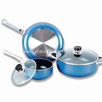 5-piece Non-stick Cookware Set with Handles and Glass Lid, Made of Aluminum Alloy