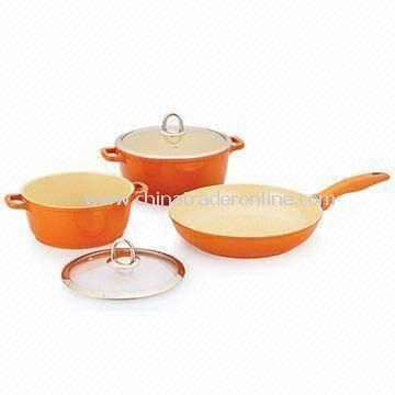 5 Pieces Non-stick Cookware Set, Made of Aluminum, Available in Various Sizes