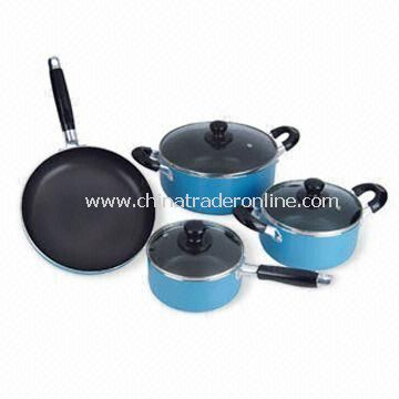 7-piece Aluminum Non-stick Cookware Set, Available in Various Sizes