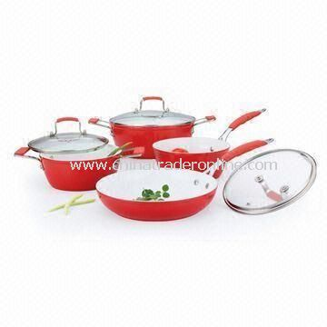 7 Pieces Forged Non-stick Cookware Set with Stainless Steel Lid, Made of Aluminum
