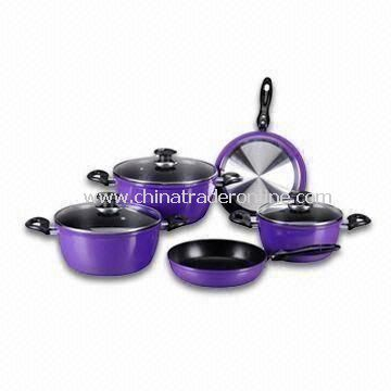 8 Pieces Forged Cookware Set with Two Layers Non-stick Coating, Made of Aluminum