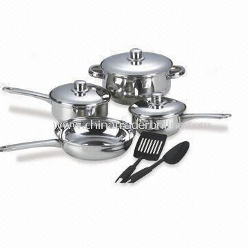 9-piece Stainless Steel Cookware Set with Two Pieces Nylon Cooking Utensil, Lid, and Knob