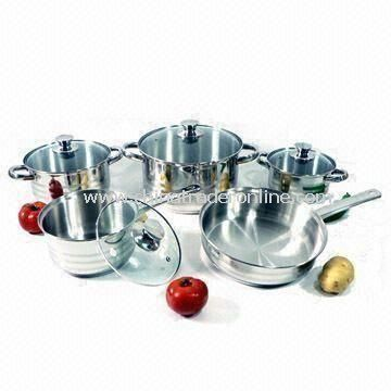 Stainless Steel 304 Cookware Set with Lid and 0.5mm Body Thickness