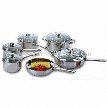 Stainless Steel Cookware Set with Large Fry Pan, Various Sizes of Saucepan and a Dutch Oven