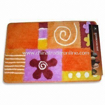 Bathroom Rug with Flower Design, Customized Designs are Welcome, Measuring 40 x 60cm