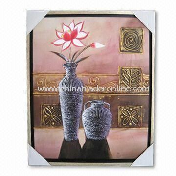 Hand-made Oil Painting Framed Art in Various Designs, for Home Decoration and Wall Hangings from China