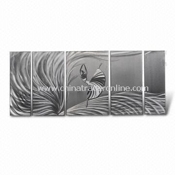 Metal Wall Crafts/Aluminum Board Painting with Two Hanging Holes and Cover Velvet at Back