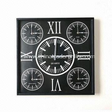 Square-shaped Art Wall Clock in Black, Made of Plastic and Glass Materials