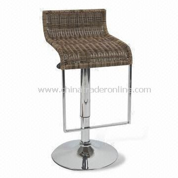 Bar Stool, Made of Cane, Chrome Base and Gas Lift