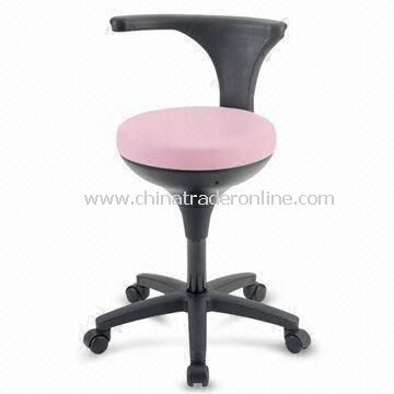 Five-legged Low Stool with 360° Swivel Seat, Adjustable Height and Foot Ring
