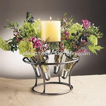 Glass Flower Candle Holder Centerpiece for Tabletop Lighting/Home Decor, with Metal Stand with Cone