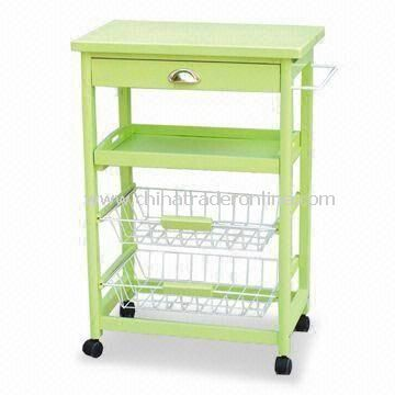 Green Kitchen Cart with One Drawer, One shelf, and Two Chromed Baskets
