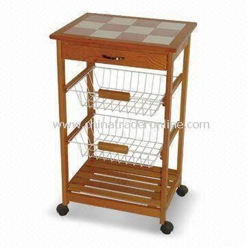 Kitchen Cart with One Wooden Shelf, Two Wire Basket Chromed, and One Drawer