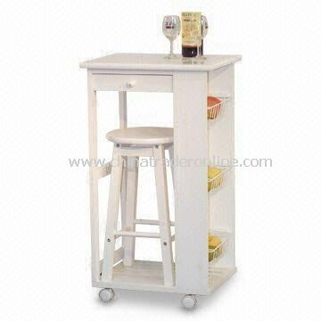 Kitchen Cart with Three Chromed Basket s and One Drawer, Customized Colors are Welcome