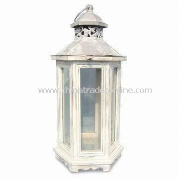 Novelty Wood Lantern Candle Holder for Home Decoration, with Window Panes, Comes in Various Designs from China