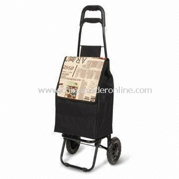 Plastic-coated Shopping Cart with Bag, Made of Steel Tube, Nylon, Measures 94.5 x 36 x 30cm