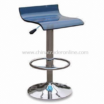 Swivel Bar Stool with Acrylic Seat, Measures 375 x 410 x 530 to 740mm