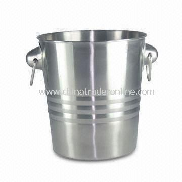 304/202 Stainless Steel Ice Bucket with Mirror Finish, Measures 18.6 x 14 x 20cm
