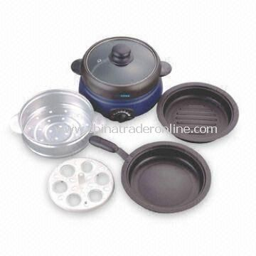 5-in-1 Chafing dDshes with Hot Pot, Frying Pan, Steamer Rack and Strainer Set