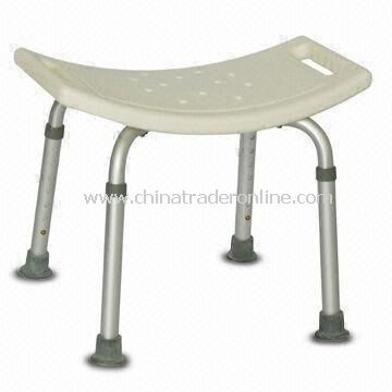 Aluminum Shower Bench, Height Adjusts in 1-inch Increment, Available in Silver or Natural Color