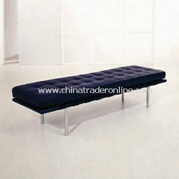 Barcelona Bench with Wooden Bed Frame, Plated Bed Leg, Genuine Cushion and Saddle Leather Straps
