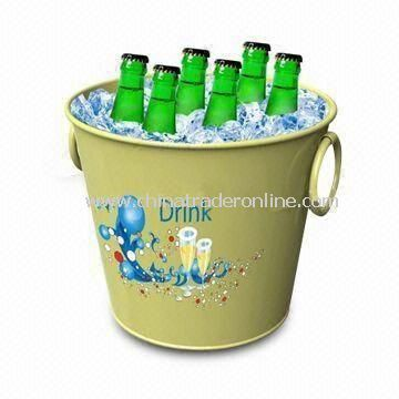 Ice Bucket, Made of Plastic Material and Customized Logo Printing Welcomed
