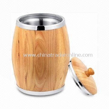 Ice Bucket with Double Wall Finish, Made of Solid Wood and Stainless Steel