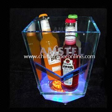 LED Ice Bucket with Built-in 3 or 6V Battery, Customized Designs are Accepted from China