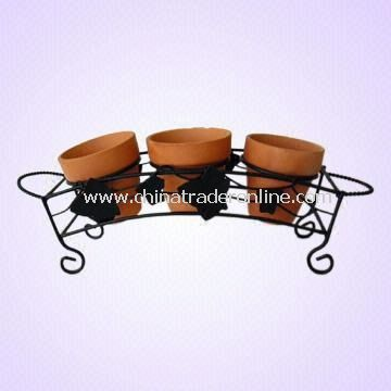 Metal Plant Rack Holds Three Flower Pots