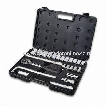 25-piece Tool Set with Ratchet Handle, Plastic Case, Spark Plug and Extensive Bar