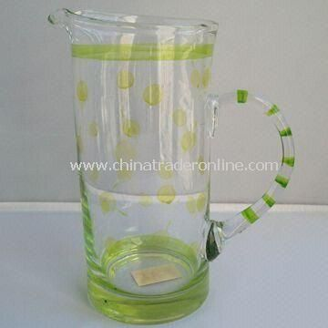 30oz Glass Pot with Hand Painting Pattern, 86mm Bottom Diameter and 105mm Top Diameter