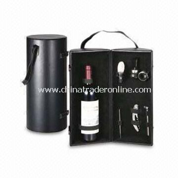 Bar Accessories in Wine Box, Includes Therometer, Pourer, Collar, Stopper, Corkscrew and Stirrer
