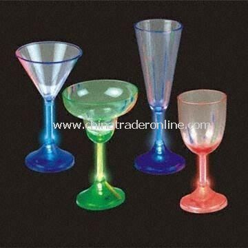 Battery-powered LED Cocktail Glasses, Available in 4 Different Shapes