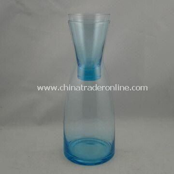 Colored Carafe Set, Made of Glass, with Tumbler