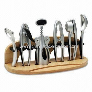 Kitchen Gadget Set, Made of Zinc Alloy, Includes Nut Cracker, Wine and Can Opener