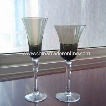 Cocktail Glass with Smoky Gray Bowl, Clear Stem and Foot