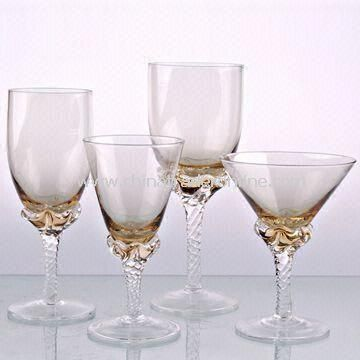 Colored Wine Glasses with Art at Bottom, Measures 7 x 17.5 and 7.5 x 14.5cm