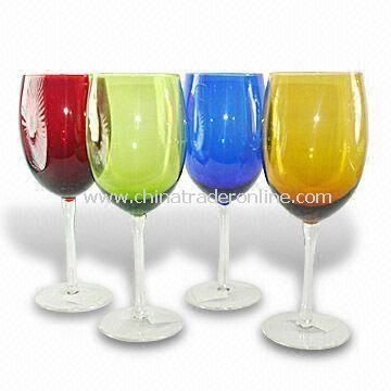 Colored Wine Glasses with Height of 21.5cm