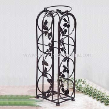 Grapevine-Shaped Wire Wine Rack, Holds Four Bottles