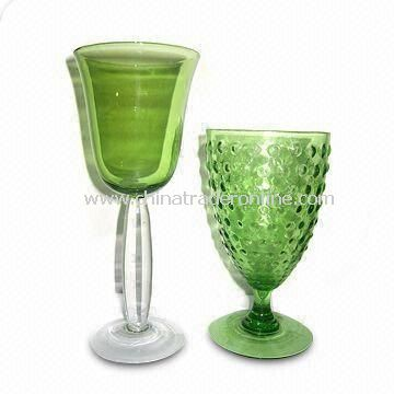 Green Wine Glasses with Pocking Mark, Comes in Two Sizes