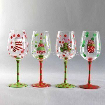 Handmade Wine Glass with Hand Printing, Measures 8 x 22.5cm