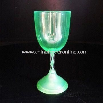 LED Wine Glass with Rubber Ring on Base and Fast Blinking Function, Sized 81 x 180mm, 93g Weight