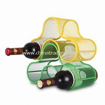 Three Bottle Mesh Stackable Wine Rack with Powder Coating