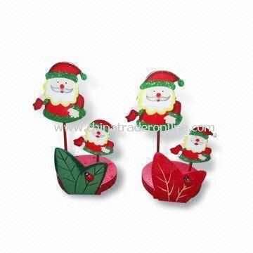 Tissue Holders with Santa Design, Made of Wood, Safety Printing