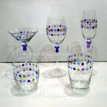 Wine Glass and Tumblers with Etched Dots and Hand-painted Color