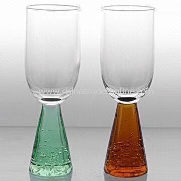 Wine Glass Set with Bubbles and Colored Base, Measuring 4.5 x 13.5cm