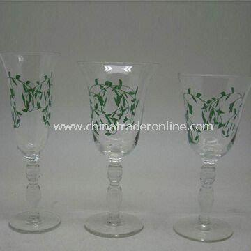 Wine Glasses with Decoration Firing, Made of Glass