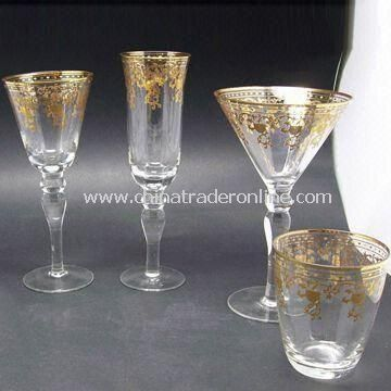 Wine Glasses with Golden Firing Decoration, Ideal for Tableware