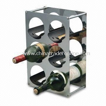 Wine Rack, Made of Stainless Steel, Suitable for Six Bottles, Measures 25 x 14 x 29cm